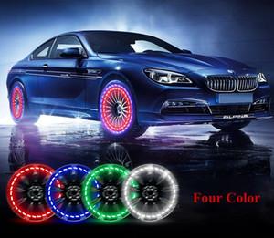 Lumières de roue de pneu de voiture, 4pcs Lumière solaire de capuchon de soupape d'air de pneu de roue de voiture solaire avec capteurs de mouvement