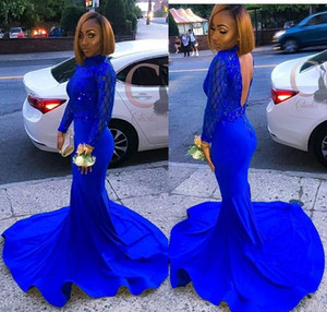African Black Girl Mangas largas Royal Blue Vestidos de baile 2019 Sirena de lentejuelas vestidos de noche con Back1010