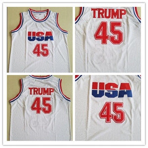 Top Calidad 45 Donald Trump Movie Basketball Jersey Equipo Dream One Fashion 100% STITCHED MENS BALONKETBALLES CAMISETAS BLANCO