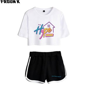 The House Women Crop Top Two Piece Set Shorts+lovely T-shirt Harajuku Hot Sale Print Summer Girl Sets