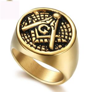 Freemasonry AG Fingerringschmucksachen Titanstahlabbildung schellt Goldfarbenring für Männer freies Verschiffen