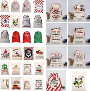 Accueil Noël Sacs cadeaux réutilisables Père Noël Sac de jute Sacs à cordonnet Sac de renne Sac Elk toile renne cordon de serrage cadeau sac de rangement