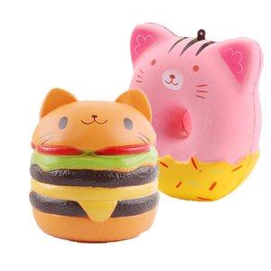 Squishy Cat Head Burger Donut Simulation Cat Face Expression Burger évent soulager la pression lente rebond PU jouets livraison gratuite