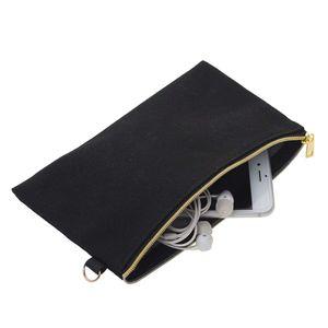 20cmX10cm Negro Blanco natural 12oz lona bolsas de bricolaje Proyecto de maquillaje cosmético del bolso con la cremallera de plata de oro Anillo D