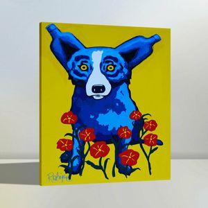 Alta Qualidade Pintado À Mão HD Print Moderna Abstrata Animal Art Pintura A Óleo Azul Cão Na Parede Da Lona de Arte Em Casa Escritório Deco a38