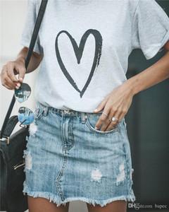 Sommer-Kurzschluss-Hülsen-Magliette loses Tuch Art und Weise beiläufige Donna Tee Herz-Liebe-Druck Frau-T-Shirt Designer