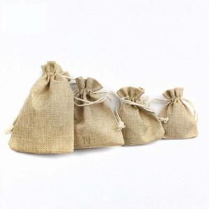 Wedding Party 100pcs reutilizável Cotton Muslin sacos do presente Natural de serapilheira Doce pacote de saco de Jóias Decoração Linho Bolsa com cordão