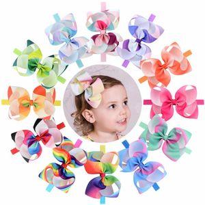 12pcs / Muito 6 '' arco-íris colorido gorgorão Bandas Bow Ribbon Headband Triângulo Seta Cabelo Boutique Acessórios de cabelo 786