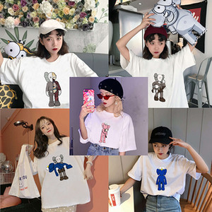 designer de moda casuais das mulheres novas chegada KAWS camisa impressão de banda desenhada T Tamanho camisa de manga curta t O pescoço Além disso DHBOWC185