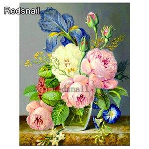wholesale Full Square Diamond Embroidery Scenery ,Diamond Painting Cross Stitch Flowers iris and peony rose Decor TT617