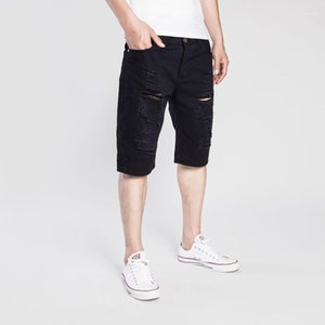 Casual Male Jean Shorts Mens Ripped Short Jeans Half Knee Length Summer Washed