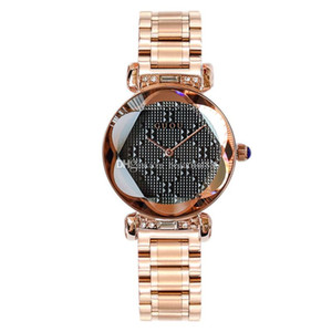 100% Hot GUOU Marca de cuarzo Señora Reloj Rhinestone Impermeable Mujeres Personalidad 3D Espejo Acero Exclusivo Dial Reloj de pulsera de lujo con caja de regalo