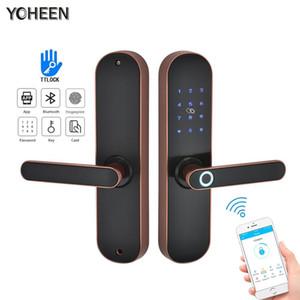 YOHEEN Fingerabdruck-Verschluss-Smart-Card-Digital-Code-Elektronisches Türschloss Bluetooth TTLock App Sicherheit Einsteckschloss Y200407