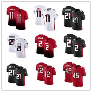 Uomo Donna Bimbo Atlanta Todd Gurley II 21 Deion Sanders Jersey Falcon 11 Julio Jones 2 Matt Ryan pullover di football 2020 nuovo vapore limitata