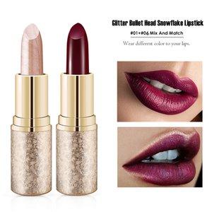 2Pcs Glitter Lipstick Set Waterproof Long-lasting Diamond Glitter Lipsticks Makeup No-Fading Metallic Luster Pearl Lip Stick Set