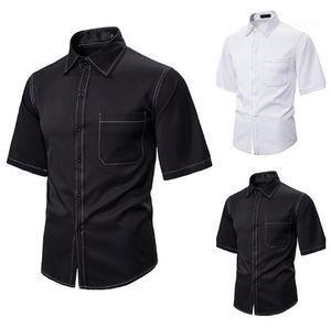 Erkek Tasarımcı Gömlek Moda Yaka Yaka Kısa Kollu Relaxed Gömlek Sokak Stili Erkek Yaz Gömlek Hip Hop