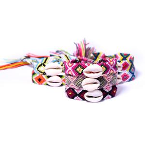 Trenzadas Shell pulseras tejidas pulsera de Bohemia con el shell Hombres Mujeres del multicolor brazalete de la playa del verano de vacaciones GGA2677 joyería