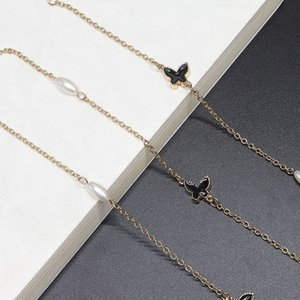 Sweater Second-use golden pearl metal Sweater chain Second-use golden pearl Butterfly Glasses butterfly glasses chain metal