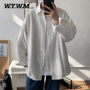 Wywm primavera 2020 Striped lavato camicia di cotone a maniche lunghe sciolto Moda Uomo Camicie Casual coreano Camicetta Piccolo Fresh Button Top
