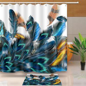 MTMETY Bella penna di pavone Shower Curtain 3D Vista Bagno Tenda impermeabile lavabile Bath Curtain personalizzata