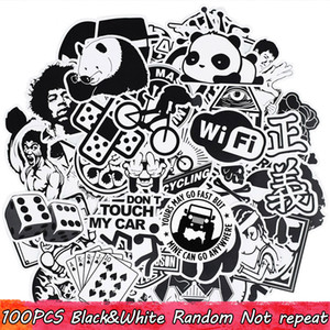 100 PCS Cool Waterproof Black And White Punk Anime Sticker for Adults to DIY Water Bottle Phone Case Laptop Scrapbook Guitar Bike Motorcycle