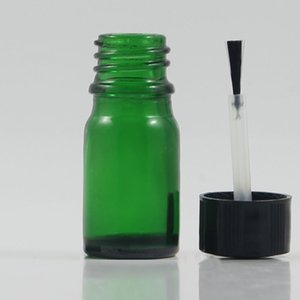 Wholesale empty 5ml mini glass bottles with brush inside, round glass bottles with black cap for nail gel, colored essential oil bottle