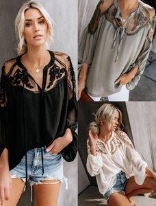 Plus Size Vêtements pour femmes T-shirts Mode florale broderie couleur unie à manches longues en mousseline de soie lâche T-shirts Casual Womens 2020 Printemps Vêtements