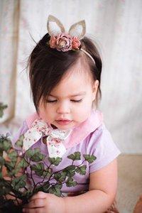 Hot Europe Infant Baby Diadema Elástica Bunny Ear Flower Crown Baby Flower Crown Accesorios de fotografía Banda para el cabello Accesorio para el cabello