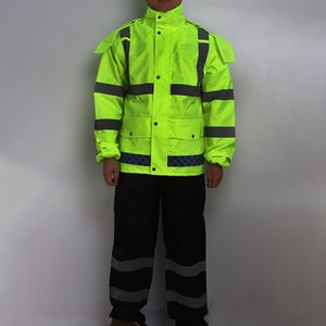Adult split raincoat suit fluorescent Oxford cloth Oxford cloth green traffic safety duty reflective clothing