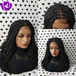 200density pieno intrecciato parrucche con le punte arricciate breve ricci scatola merletto della parte anteriore parrucca nera intreccia parrucca per le donne africane Trecce parrucche con capelli del bambino