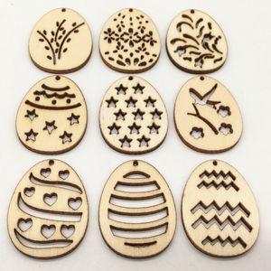 50Pcs Laser Cut Wooden Egg Crafts Easter Decoration Hanging Pendants Kids Happy Easter Party Favors Easter Wooden Props