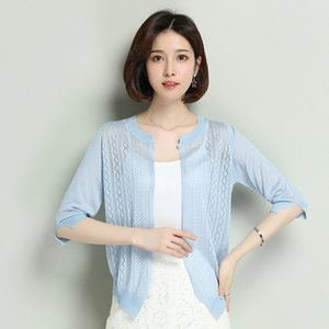 Women Cardigan Thin Hollow Knitwear Summer See Through Lady Knit Coat Outwear Sun Protection Shirt