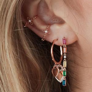 Borla larga gota pendiente arco iris baguette cz cadena de eslabones geométricos moda joyería de las mujeres hermosas