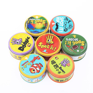 7 Versioni Spot IT Card Game Spot / Camping / Animal / Sport / Hip Family Party Entertainment Game Toy for Boys Girls Regalo