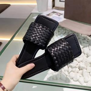 Marca Diseño transpirable mujeres de cuero de vaca plana zapatillas de piel de oveja tejida verano playa sandalias de moda casual zapatos mocasines, 35-42