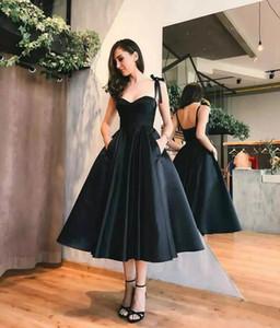 2019 Little Black Prom Dress Spaghetti Straps A Line El más nuevo diseño clásico Longitud de té Vestidos de noche negros Vestido formal de bienvenida