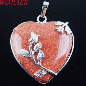 WOJIAER Bohemian Style Women Jewellery Love Heart Gem Stone Necklaces Natural Golden Sand Stone Charms Pendant DN3184