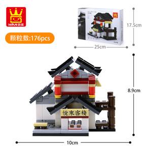 China Style StreetsCape Intelligence Building Pequeño para juguetes Juguetes Decorar Building Mini Blocks Nuevo 09 Partículas Montaje Bloques Niño SOQV