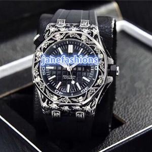El mejor reloj clásico de moda vintage tallado para hombres relojes boutique de caucho natural impermeable reloj automático envío gratis