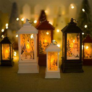Creative Christmas Impressão Vento Lâmpada Home Courtyard Quadrado Castiçal Pingente Papai Noel Enfeites de Papai Noel Vento Luz de Rua Luz de Rua T9i00209
