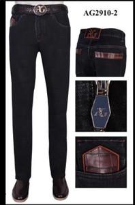 Ang * elo galasso jeans мужские 2020 новая мода повседневная хлопчатобумажная вышивка черный большой код прилив брюки