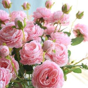 Simulation PeonEuropean style Core-enveloppé Western Trois Rose Pivoine Fleurs usine Simulé Décoration murale Faux mariage fleur WL438