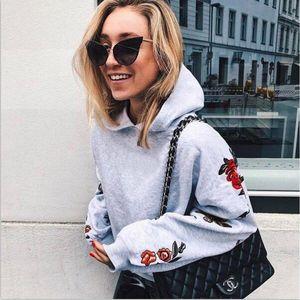 2018 Fashion causali Newly Tops Primavera Autunno delle signore delle donne con cappuccio a maniche lunghe con cappuccio Pullover Rosa floreale grigio Slim