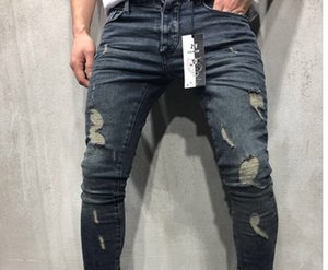 2019 New Hole Small Feet Jeans Feet Zipper Trend Mens Middle Waist jean Asian Size Type Jeans