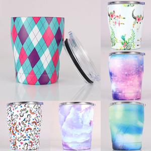 Verres à vin peints en acier inoxydable avec couvercles mugs à café sans tige 12oz Beer Cups Kitchen Dining Bar Drinkware 7 Designs WX9-1347