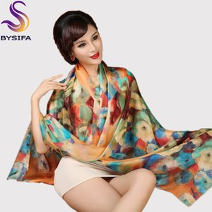 [BYSIFA] Silk Scarf Plus Size Broadened Silk Women's Silk Scarf Shawl Female Scarf New Winter Orange Coffee Women Long Scarves