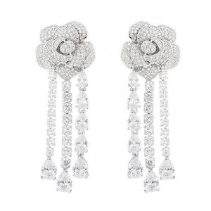 Long Tassel Flower Earrings For Girls Crystal Water Drop Dangler 925 Silver Earring Brand Designer Jewelry