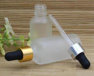 Vape fosco garrafa de vidro transparente 10 ml 15 ml 20 ml 30 ml 50 ml 100 ml de óleo essencial de vidro fosco frasco conta-gotas com ouro prata preto branco cap