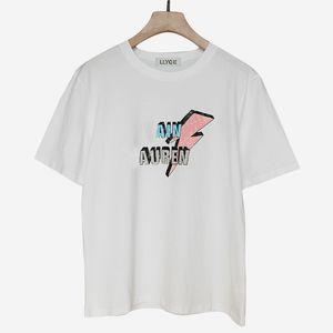 Camiseta de algodón de manga corta para mujer Top con cuello O Negro Carta blanca Imprimir Imprimir Imprimir camisetas Mujer Summer Lady Tee Tops En stock Y19060601