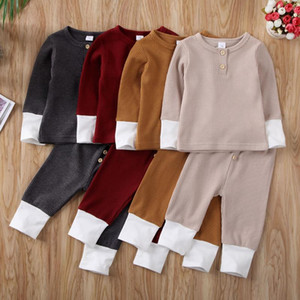 Baby Girl Boy Clothes Set 2020 Toddler Knitted Fall Autumn Long Sleeve O Neck Tops T-Shirt Leggings Pants Outfits Clothing